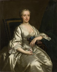 three-quarter length portrait, called flora macdonald wearing a satin dress and holding a rose by thomas hudson