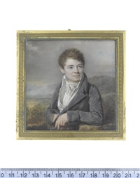 the artist's son, hyppolite périn (d.1827), seated in a landscape and wearing a blue coat, white waistcoat, chemise and tied stock by lié-louis périn-salbreux