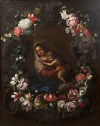 vierge à l'enfant dans une couronne de fleurs by jean philips van thielen and erasmus quellinus