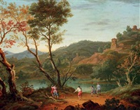 an italianate landscape with boule players on the banks of a lake, fortified towns in the distance by peter tillemans