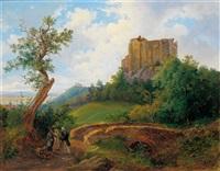 begegnung bei der burgruine liechtenstein by joseph altenkopf