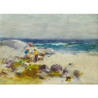 beach scene with fishermen by william st. thomas smith