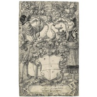 the arms of habsberg flanked by an elegant couple by daniel lindtmayer the younger