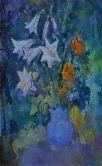 les fleurs dans un vase bleu by lidia arkhipova