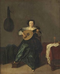an elegant lady in a green dress playing a lute in an interior by dirck hals