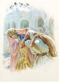 le depart des amoureux by alphonse etienne dinet