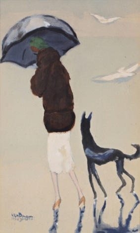 jeune femme et son chien se promenant sur la plage by kees van dongen