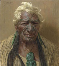 an aristocrat atama paparangi. a chieftain of the rarawa tribe of maoris, new zealand by charles frederick goldie