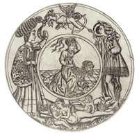 aristotle and phyllis, surrounded by a young man and woman with eros, and a reclining nude woman with two children by baccio baldini