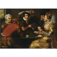 an elegant company seated around a table playing cards by dutch school-southern (17)