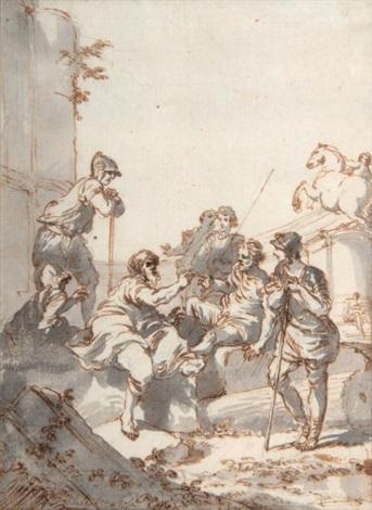 personnages à lantique avec un dioscure à larrièreplan by giovanni paolo panini