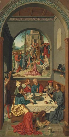 mary magdalene anointing the feet of christ in the house of simon the pharisee with the raising of lazarus beyond by german school 16