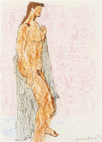 nude with black drape by milton avery