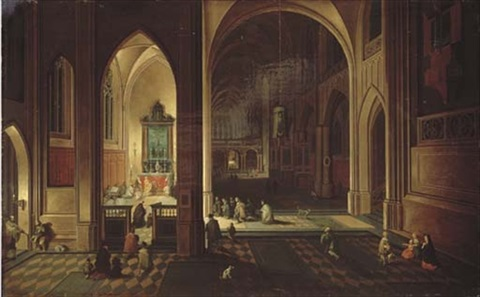 the interior of a gothic cathedral with evening mass by peeter neeffs the elder