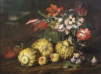 nature morte (still life with fruit and crow) by abraham brueghel