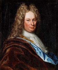 porträtt av herre i allongeperuk (självporträtt?) by lucas van breda