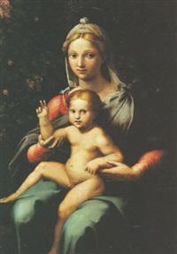 la vierge à l'enfant sur fond feuillagé by giovanni francesco penni