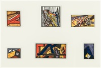 russian ballet (set of 6 works) by david bomberg