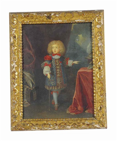 portrait of filippo di savoia carignano standing in a gold embroidered smock white chemise his left hand gesturing towards a table by french school 17