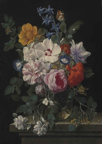 flowers in a glass vase with a butterfly and beetle on a stone ledge by nicolaes van veerendael