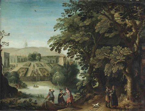 an elegant company strolling through a woodland park a lake and a formal garden beyond by anton mirou