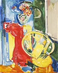 still life with chair and flowers by hans hofmann