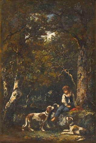 portrait of a boy with three dogs by narcisse virgile diaz de la peña