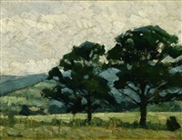 trees in a spring landscape by ernest bruce nelson