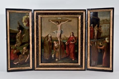 la crucifixión jesús en el el huerto de los olivos y jesús ante pilatos triptych by flemish school 16