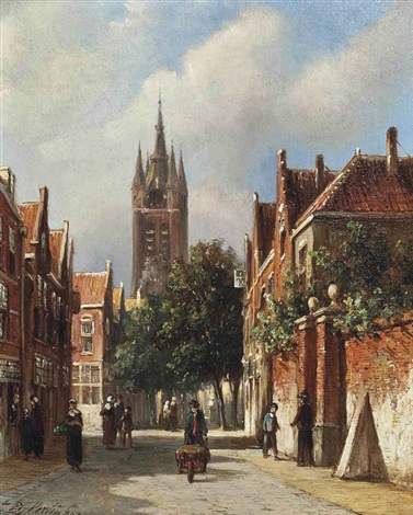 figures on a dutch street by pieter gerardus vertin