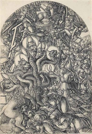 the beast with seven heads and ten crowns from the apocalypse by jean duvet