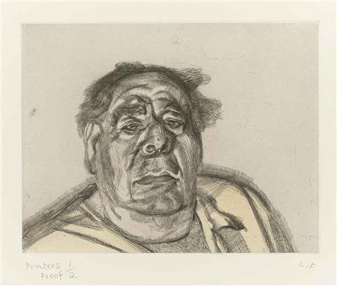 lord goodman in his yellow pyjamas by lucian freud