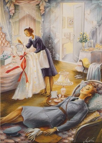 female officer lying on bed as maid prepares gown cover study for the new yorker by constantin alajalov