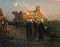 le soir dans les hameaux du finistère by jules breton