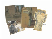 urns, an old staircase..., writing a letter, ange sur la croix, tea time, clock tower..., skeleton, two studies of an old man, drapery (9 works) by maria vasilevna jakunchikova