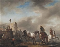 horsemen and peasants in a coasted landscape by philips wouwerman