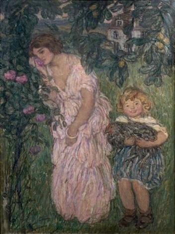 femme et enfant dans un jardin by edmond françois aman jean
