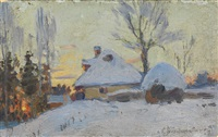 winter village at sunset by sergei ivanovich vasil'kovsky