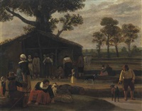 a haymarket in the countryside by hendrick ten oever
