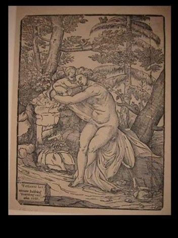 venus and cupid in the woods after titian by niccolo boldrini