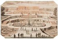 vue du château de versailles prise du bassin de latone by adam perelle