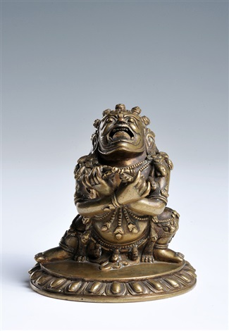 a rare bronze figure of dakabrtibet 17th century height 9 cm