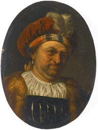 a trony self-portrait of the artist, bust-length, wearing a turban crowned with a feather, and fur-trimmed robe by frans van mieris