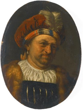a trony self portrait of the artist bust length wearing a turban crowned with a feather and fur trimmed robe by frans van mieris