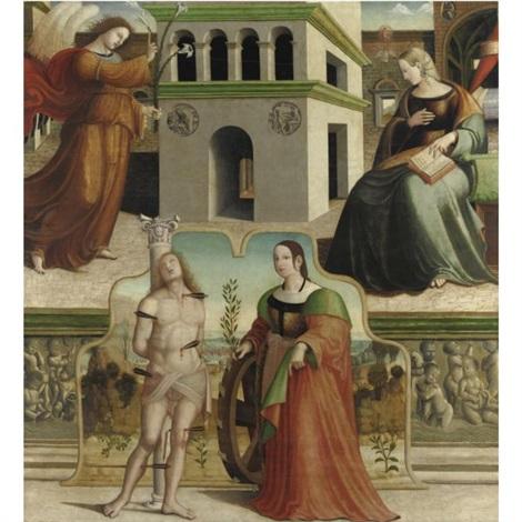 annunciazione e i santi sebastiano e caterina dalessandria by francesco fantoni da norcia