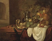 grapes, peaches and plums in a wan-li kraak porcelain dish and in a wicker basket, a pewter jug and a silver plate, all on a partially draped table in... by isaac van duynen
