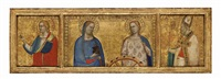 saints lucy and catherine of alexandria, saint john the evangelist, and saint nicholas of bari (triptych) (from the s. giorgio a ruballa altarpiece) by bernardo daddi