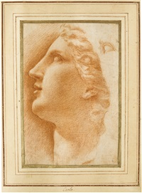 study of a female head, after the antique, seen in profile with a separate study of an eye by italian school-roman (17)