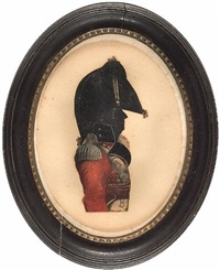 a junior officer of volunteer infantry, profile to the right, wearing scarlet coatee with dark facings, crimson cummerbund, cross-belt with belt plate bearing initials gr, and bicorn hat by john buncombe