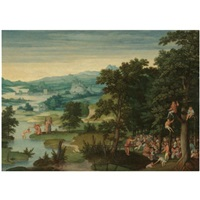 a river landscape with st. john the baptist preaching and the baptism of christ by cornelis massys